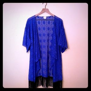 Lularoe Royal Blue Monroe Fringe Kimono Size L